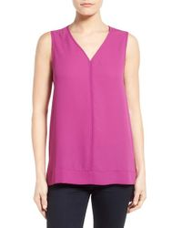 Pleione - Pink Sleeveless V-neck Top - Lyst
