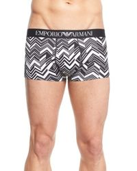 Emporio Armani - Gray Stretch Cotton Trunks for Men - Lyst