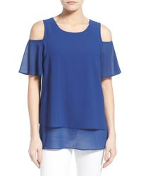 Bobeau - Blue Tiered Cold Shoulder Top - Lyst