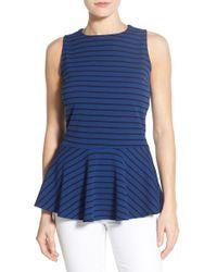 Bobeau - Black Stripe Sleeveless Stretch Knit Peplum Top - Lyst