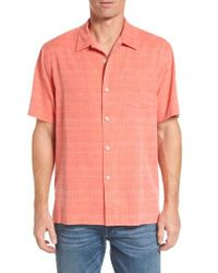 Tommy Bahama | Pink 'geo-rific Jacquard' Original Fit Silk Camp Shirt for Men | Lyst