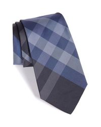 Burberry - Blue Check Silk Tie for Men - Lyst