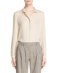 Eleventy - Natural Silk Blouse - Lyst