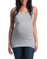 Bun Maternity | Gray Stripe Maternity/nursing Tank Top | Lyst