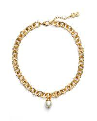 Karine Sultan | Metallic Short Imitation Pearl Collar Necklace | Lyst