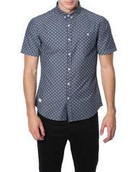 7 Diamonds   Blue 'the Stars' Trim Fit Short Sleeve Print Woven Shirt for Men   Lyst