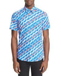 KENZO   Multicolor Extra Trim Stripe Short Sleeve Sport Shirt for Men   Lyst