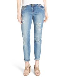 Kut From The Kloth - Blue 'catherine' Distressed Stretch Boyfriend Jeans - Lyst
