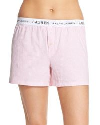 Lauren by Ralph Lauren | Pink Logo Elastic Boxer Lounge Shorts | Lyst