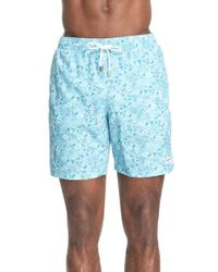 Canali - Blue 'teal Floral Print' Swim Trunks for Men - Lyst