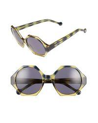 Jonathan Adler - Yellow 'waikiki' 55mm Hexagonal Sunglasses - Navy Tort Grad. - Lyst