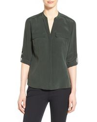 Elie Tahari - Black 'mailn' Wrapped Chain Detail Mixed Media Blouse - Lyst