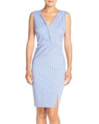 NYDJ | Blue 'ophelia' Gingham Stretch Cotton Sheath Dress | Lyst