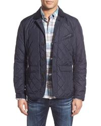 Barbour | Blue 'beauly' Tailored Fit Quilted Jacket With Corduroy Collar for Men | Lyst