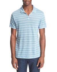 Onia | Blue 'shaun' Stripe Linen Polo for Men | Lyst