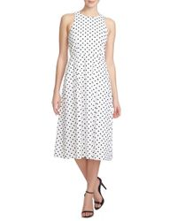 1.STATE - White Polka-Dot Crepe Midi Dress - Lyst