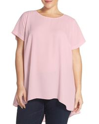 Vince Camuto - Pink Short Sleeve High/low Hem Blouse - Lyst