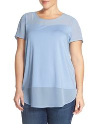 Vince Camuto - Blue Chiffon Inset Knit Top - Lyst