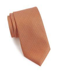 Calibrate - Orange 'union Square' Micro Texture Silk Tie for Men - Lyst