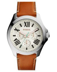 Fossil - Metallic 'cecile' Multifunction Leather Strap Watch - Lyst