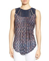 Lucky Brand | Blue Embroidered Yoke Wash Knit Top | Lyst