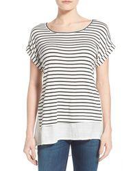 Bobeau - Black Layered Look Stripe Top - Lyst