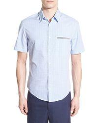 BOSS Green - Blue 'c-baberino' Slim Fit Print Sport Shirt for Men - Lyst