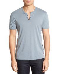John Varvatos - Gray Eyelet Neck Short Sleeve Shirt for Men - Lyst