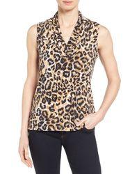 Anne Klein | Natural Leopard Print Pleat V-neck Top | Lyst