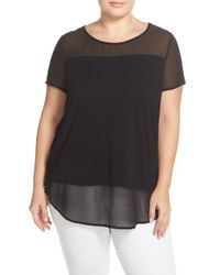 Vince Camuto | Black Chiffon Inset Knit Top | Lyst