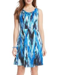 Karen Kane - Blue Ikat-Print Crepe Dress - Lyst