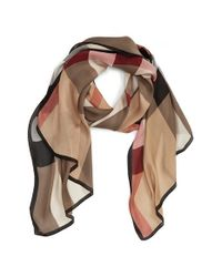 Burberry   Natural 'ultra Mega Check' Washed Mulberry Silk Scarf   Lyst