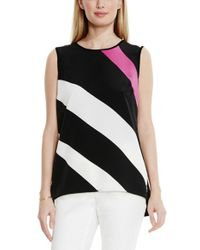 Vince Camuto - Black Colorblock Mixed Media Top - Lyst