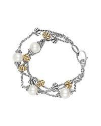 Lagos | Metallic 'luna' Pearl Three-strand Line Bracelet | Lyst