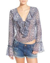 Band Of Gypsies | Gray Ruffle Front Sheer Blouse | Lyst