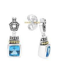 Lagos | Blue 'caviar Color' Square Semiprecious Stone Drop Earrings | Lyst