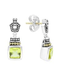 Lagos | Green 'caviar Color' Square Semiprecious Stone Drop Earrings | Lyst
