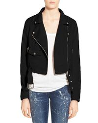 Lyst Missguided Crop Faux Suede Moto Jacket In Black