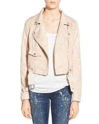 Missguided - Pink Cropped Faux-Suede Jacket - Lyst