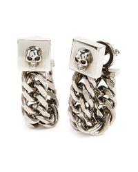 Alexander McQueen | Metallic Skull & Chain Cuff Links | Lyst