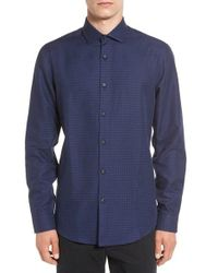 Calibrate Blue Trim Fit Dobby Sport Shirt for men