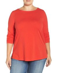 Sejour | Red Ballet Neck Long Sleeve Tee | Lyst