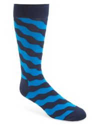 Happy Socks - Blue 'wave' Graphic Cotton Blend Socks for Men - Lyst