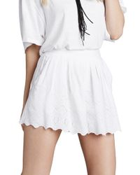 Free People - White Eyelet Azalea A-Line Shorts - Lyst