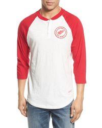 Mitchell & Ness - 'detroit Red Wings - Unbeaten' Three Quarter Sleeve Henley for Men - Lyst