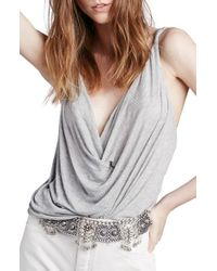 Free People - Gray 'bulls Eye' Wrap Front Tank - Lyst