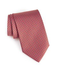 Ferragamo | Red Geometric Silk Tie for Men | Lyst