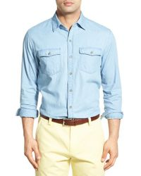 Cutter & Buck - Blue 'equinox' Regular Fit Denim Sport Shirt for Men - Lyst