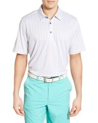 Cutter & Buck | White 'hamden Jacquard Stripe' Drytec Moisture Wicking Golf Polo for Men | Lyst