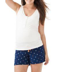 Amoralia - Multicolor Maternity/nursing Button Tank & Pajama Shorts Set - Lyst